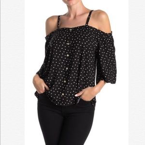 B by Bobeau Polka Dot Cold Shoulder Blouse Top